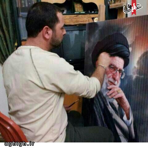 اثر زیبای نقاش لبنانی از رهبر انقلاب